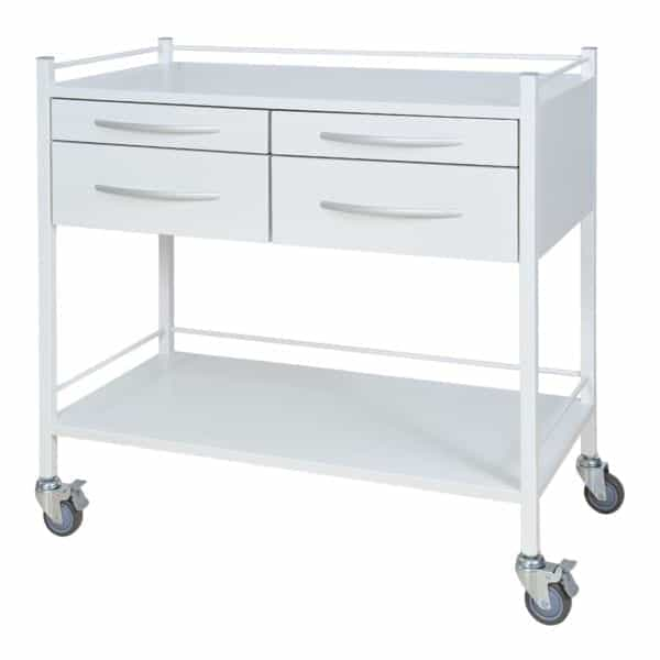 Double White Instrument Trolley